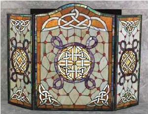celtic stained glass fire screen bridgets of erin rh bridgetsoferin com stained glass fireplace screen frame stained glass fire screen